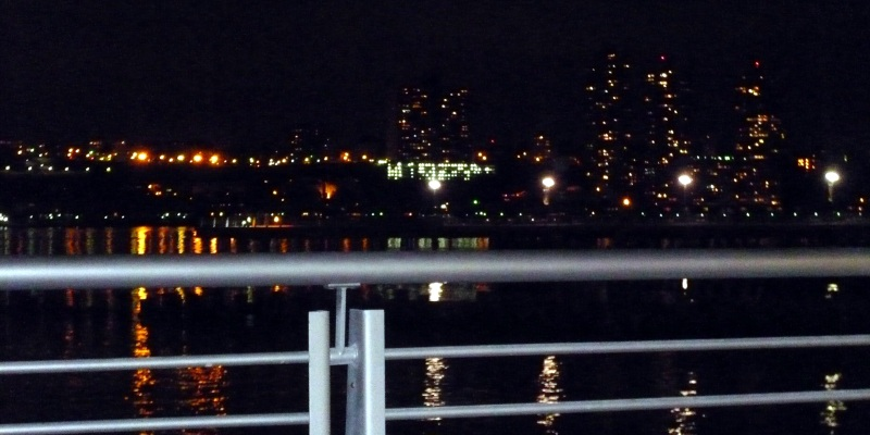 Hudson River at night.
