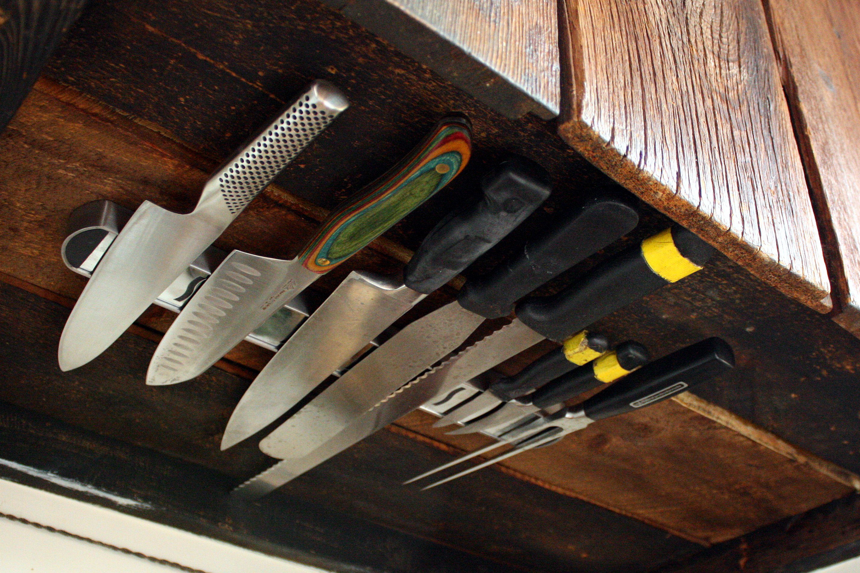 Space Solutions: Under-Cabinet Knife Rack |